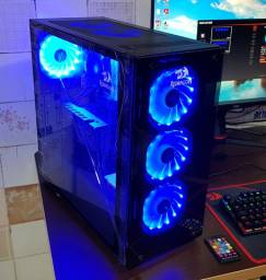 PC Gamer Top Ryzen 5 3600 RX 580 8GB 16GB de Ram SSD M2 240GB HD1TB Ac. Cartão