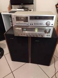 Vendo conjunto Sharp reciver tape deck caixas tudo funcionando perfeitamente