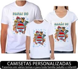 Camisetas para Aniverário com Estampa Personalizada temos vários temas