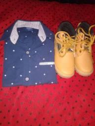 Camisas e calçados a venda