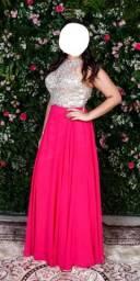 Vestido rosa com pedraria