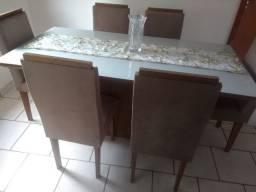 Mesa de Jantar 6 cadeiras Laca/Vidro Novo!