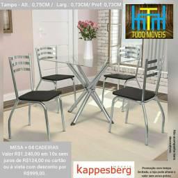 Conjunto Sala de Jantar Kappesberg Mesa Tampo de Vidro 4 Cadeiras