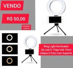 Ring Light Iluminador De Led Com Tripe Usb 16cm Com Suporte para Celular
