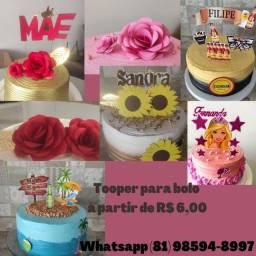Tooper para bolo personalizado