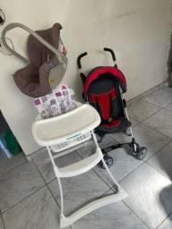 Bebe conforto + cadeira de alimentação + carrinho de bebê