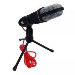 Microfone Condensador com tripe  Omnidirecional Preto