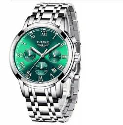 Relógio lige masculino  nova moda2021 aço inoxidável  quartzo A prova d'água