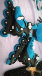 Kit Patins E Proteção Roller Azul Diversão