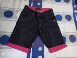 Bermuda jeans c/ barra