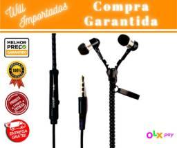 Entrega Grátis* - Fone De Ouvido Tipo Zíper De Boa Qualidade Com Microfone