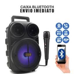 Caixa De Som Bluetooth Mp3 Portátil Karaokê Com Microfone
