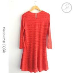Vestido vermelho mosaico manga comprida - Tamanho 40