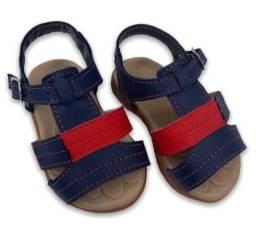 Sandália Bebê Infantil Azul/vermelho Menino- Papete 18 Ao 22