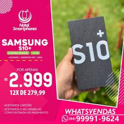Samsung Galaxy S10 PLUS (LACRADO) 128GB, 8GB RAM DUAL ( PRETO BRANCO OU AZUL)