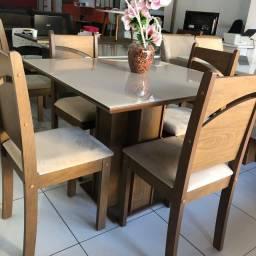 Conjunto Mesa com 4 cadeiras Sophia - tampo Mdf com Vidro