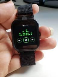 Super Promoção Smartwatch P8 Preto Metal Original Troca Pulseira Notificação Whatsapp