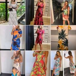 Lote 10 Vestidos Novos Verão Neoprene M.A Clothes Tamanhos Estampas Variados