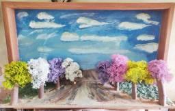 Pintura quadro 3d oleo e Madeira caminho de ipês