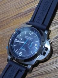 R$ 999 Relógio Panerai Luminor 44mm Safira Automático Modelo Flyback Muito Raro