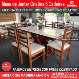 Mesa de Jantar Cristina 6 Cadeiras Beatriz medida do tampo 160X90