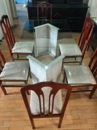 Mesa de jantar em Vidro com 6 cadeiras