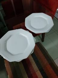 4 pratos sobremesa porcelana branca