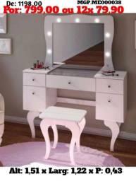 Super Descontasso em MS- Penteadeira Lindissima com Espelho e Banqueta - Embalado
