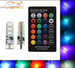 Led pingo RGB T10 12v 3 peças,2 lampadas é um controle com bateria já incluída.