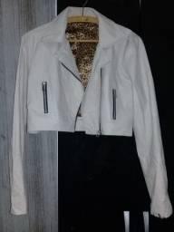 Jaqueta de couro cor bege