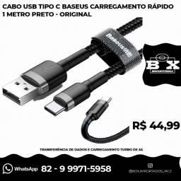 Cabo Usb Tipo C Baseus Reforçado 1 M Carregamento Turbo 3a