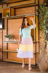 Vestido Midi Tricot Colors Moda Feminina Trico