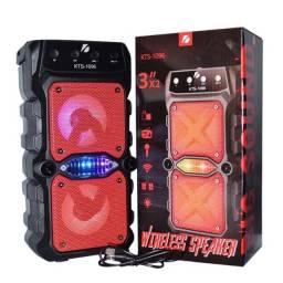 Caixa de som Potente Bluetooth Karaoke kts 1096 com 2 alto-falantes Linda