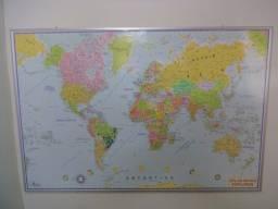 Mapa Mundi Explorer 1,20 x 0,80 cm - Moldura Alumínio