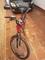 Bicicleta elétrica 800w 48v 12ah vermelha Semi Nova