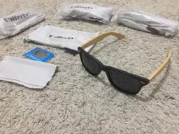 Somente hoje e amanhã Oculos Sport haste em bambu lente polarizada
