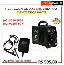 Máquina Inversora de Solda V-AK 260 220V 160A - Dois anos de Garantia