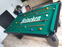 Mesa Charme Pgto na Entrega Cor Preta Tecido Verde Logo Heineken AVKR0203