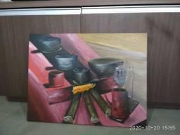 Pintura em tela decorativa. Fogão de lenha