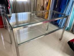 Vende-se mesa inox com vidro