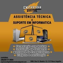 Serviços de informática formatação e assistência técnica e consultoria