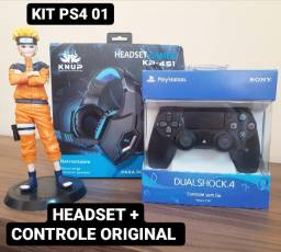 Kit Ps4 Headset Gamer + Controle Original