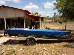Barco Canoa Urunautica completo (Canoa, Carretinha, Motor Yamaha 15 Hp).