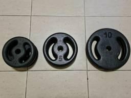 Kit anilhas + barras para muaculação