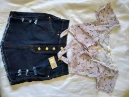 Blusinhas e Saia Jeans