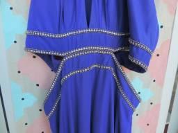 Vestido azul hortênsia recortes strass