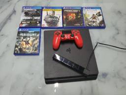 PS4 Slim 1TB, 1 Controle, PScâmera, 5 jogos físicos