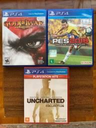 Jogos PS4. Compre 3, pague R$90,00