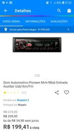 Vendo rádio Pioneer R$150 reais fone * retirar na Restinga