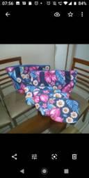 Bolsas dupla face em PVC, nécessaire, tecido chita e de algodão..